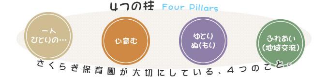 4つの柱 Four Pillers:桜木保育園が大切にしている、4つのこと